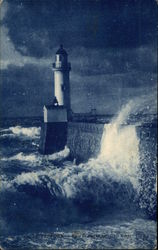 Lighthouse in the Evening Waves