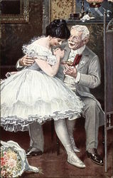 Ballerina in White Receiving Gift from Old Gentleman