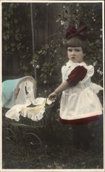 Young Girl Pushing Doll Carriage