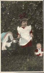 Young Girl with Baby Doll & Stroller