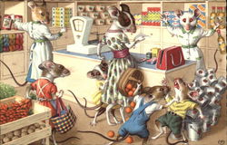 Mice Wearing Clothes at the Market