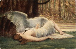Leda - Semi-Nude Woman Reclining with a White Swan