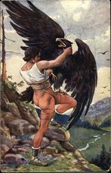 Muscular Man Fighting Against a Large Black Bird of Prey