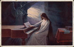 Posiednf akordy - Woman At A Piano With Angel