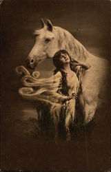 Woman Standing with White Horse in the Moonlight