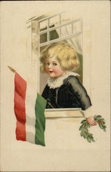 Young Boy holding Flag Of Hungary out Window