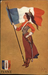 Woman Soldier holding Flag of France