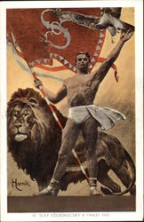Muscle Man holding Flag beside Lion and Hawk