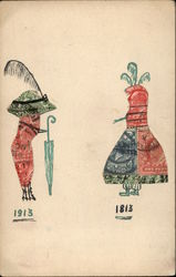 Two Female Figures made from Postage Stamps