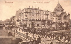 Military Marching over Bridge in Strassburg toward Synagogue