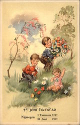 Young Children Gathering Flowers in a Meadow