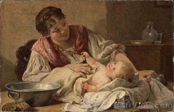 Peasant Woman Bathing Infant Babies