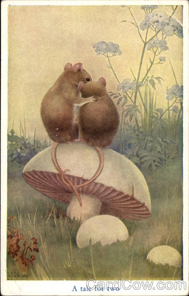 A Tale for Two - Mice Sitting on Mushroom