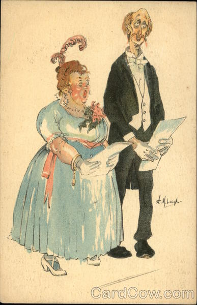 Fat Lady and Thin Man Sing from Librettos Comic, Funny