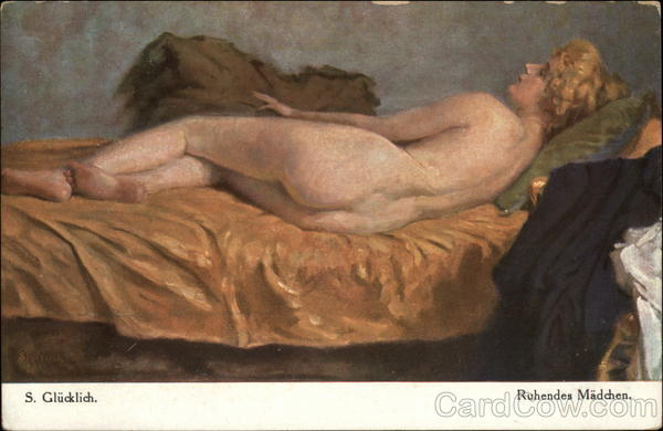 Dormant Girl - Nude Woman Reclining on Bed Women