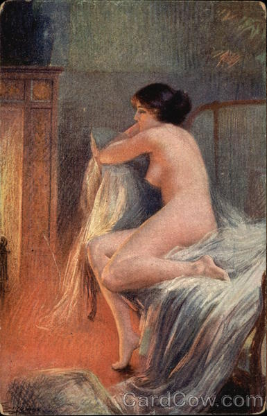 Nude Woman sitting in front of Fireplace Women
