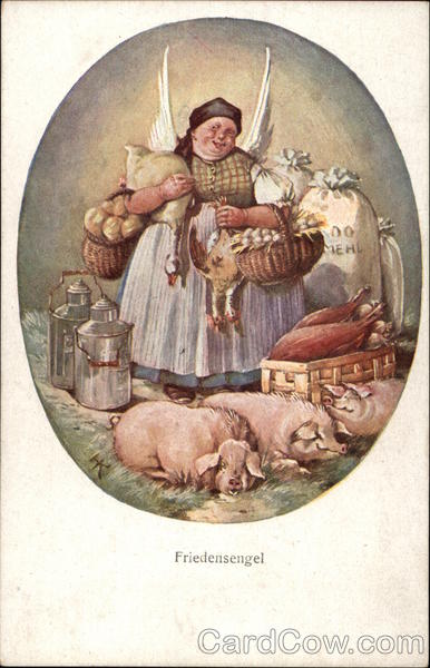 Peasant Woman with Farm Animals & Milk Tins Multiple Animals