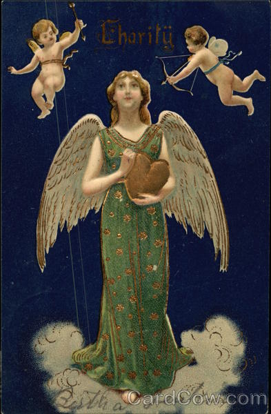 Charity - Angel holding Gold Heart with Cupids Hovering Overhead
