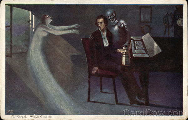 Chopin's Vision - Man at Pinao with Ghost of Woman & Skeleton