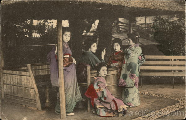 Five Geisha Girls Under Outdoor Hut Asian