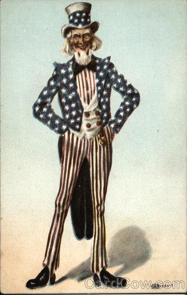 Uncle Sam Dressed in Red, White and Blue Patriotic