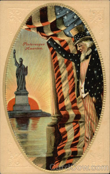 Picturesque America - Uncle Sam, American Flag, Statue of Liberty