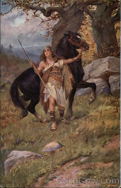 Warrior Woman Settling Black Horse Art