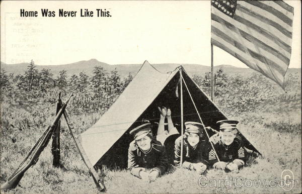Home Was Never Like This - Female Military in Tent beside US Flag