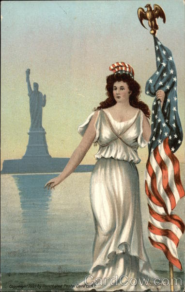 Woman dressed as Lady Liberty in front of the Statue of Liberty