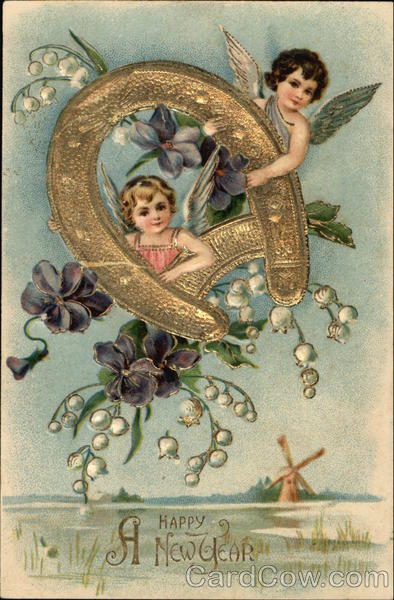A Happy New Year with Cherubs Holding Gold Horseshoe