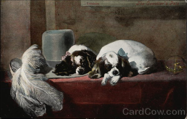 Two Spaniel Puppies on Bench with Plumed Hat Dogs