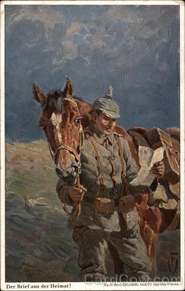 Soldier Reading a Letter while Standing with His Horse