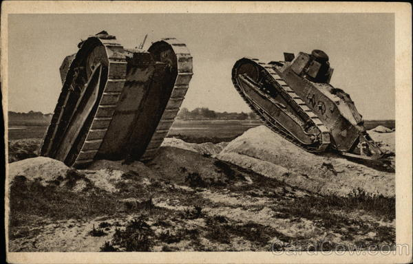 Two Military Tanks on Rock