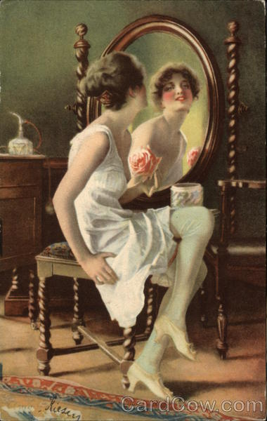 Mirror, Mirror on the Wall - Woman Gazing into Vanity Mirror