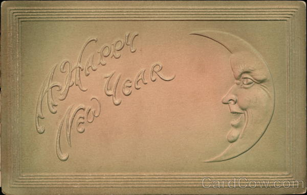 A Happy New Year - With Crescent Moon Face New Year's
