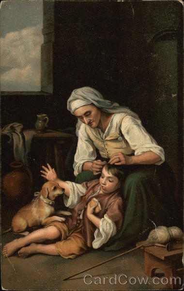 Old Woman with Boy - by Murillo Art