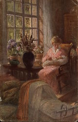 Woman in Pink Sitting by Window Holding Infant
