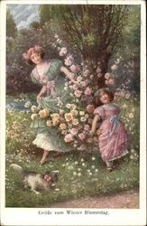 Girls Playing Among the Flowers with a Small Dog