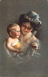 Portrait of Woman and Smiling Infant