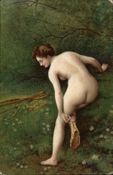 """Diana"" - Nude Woman putting on Sandal"