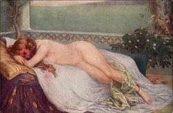 Nude Woman Reclining on Bed