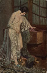 """The Green Shoe"" - Semi-Nude Woman Dressing"