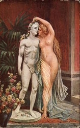 Nude Eunice standing next to Statue of Petronius