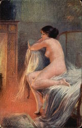 Nude Woman sitting in front of Fireplace