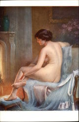 After the Bath - Nude Woman sitting in front of Fireplace