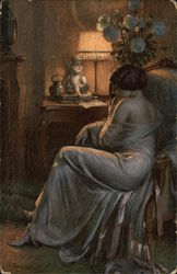 Woman Contemplating In A Dark Room
