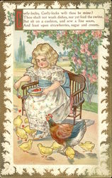 Girl with Strawberries and Chickens