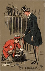 """The Shoeblack"" - Man getting Shoeshine Postcard"