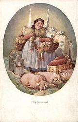 Peasant Woman with Farm Animals & Milk Tins