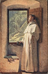Friar Gazing out Window at Mountainside